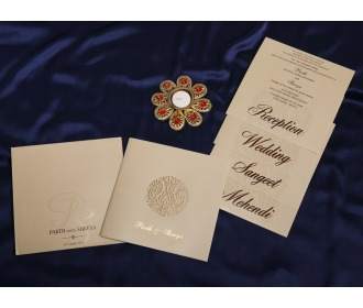 Floral centered wedding invite