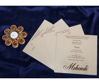 Floral centered wedding invite
