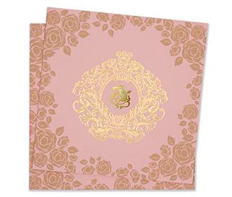 Floral hindu wedding invitation card in baby pink