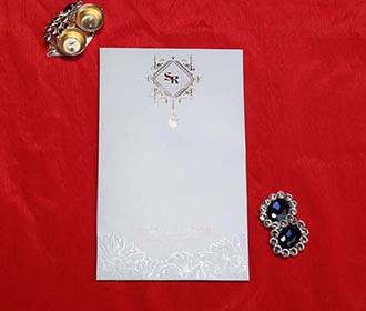 Floral Indian Wedding Card in Slate Blue colour