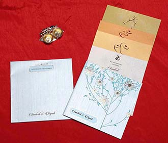 Floral Indian Wedding Cards in Light Blue with Flower Designs