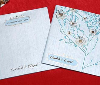 Floral Indian Wedding Cards in Light Blue with Flower Designs -
