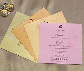 Floral Indian Wedding Cards in Light Pink with Flower Designs