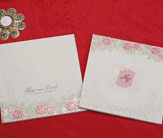 Floral Indian Wedding Invitation Card in Ivory Colour