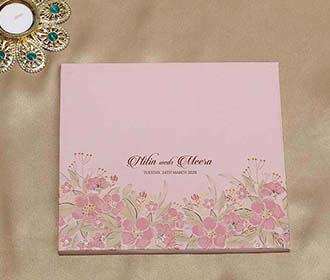 Floral Indian Wedding Invitation in Shades of Pink