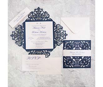 Floral Laser Cut Wedding Invitation in Navy Blue Colour & RSVP set -