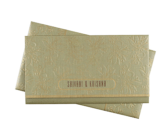 Floral multifaith indian wedding card in golden colour