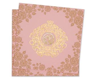 Floral muslim wedding invitation card in baby pink