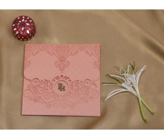 Floral pink laser cut wedding invite