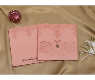 Floral pink laser cut wedding invite