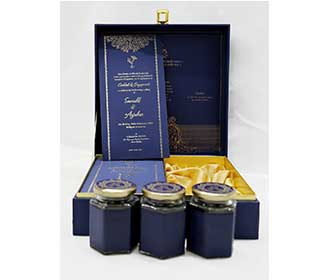 Floral theme navy blue wedding box invitation with designer inserts & sweet jars -