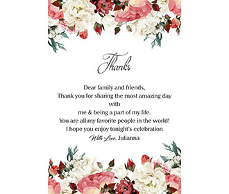 Floral theme printed thank you cards wedding stationery with envelopes -