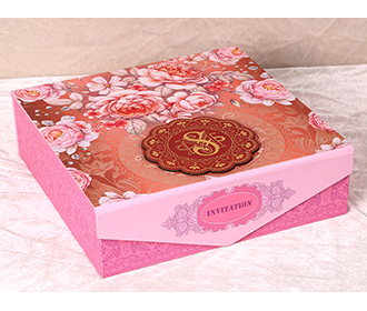 Floral theme wedding box invite in shades of red  pink and orange -