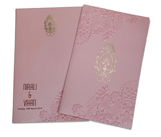 Floral themed Indian wedding invitation in metallic pink colour