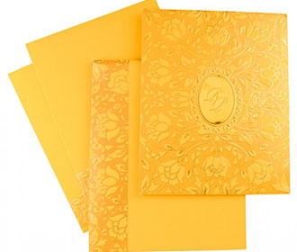 Floral themed Indian wedding invitation in yellow colour