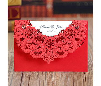 Floral wedding invite in intricated red lasercut design -