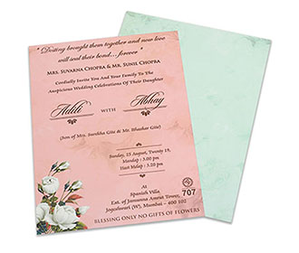 Floral wedding invite in pastel blue and pink