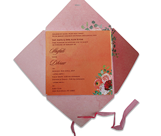 Floral wedding invite in pink with four fold envelope & a ribbon