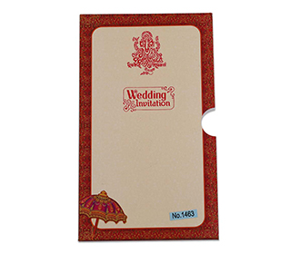 Four fold accordion wedding invitation in maroon colour with Ganesha image