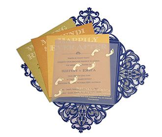 Four fold laser cut tamil wedding invitation in royal blue colour