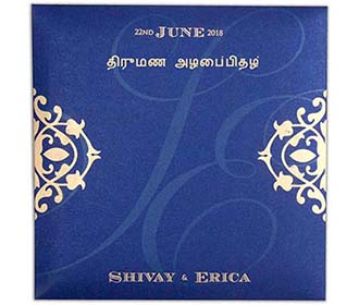 Four fold laser cut tamil wedding invitation in royal blue colour -