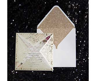 Four Fold Laser cut Wedding invitaion & RSVP set in Cream Shimmer