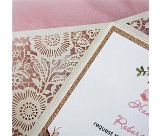 Four Fold Laser cut Wedding invitaion in Cream Shimmer