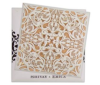 Four fold laser cut wedding invitation in Ivory colour