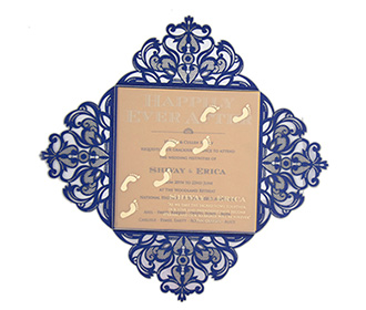 Four fold laser cut wedding invitation in royal blue colour
