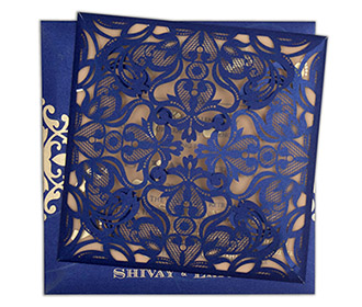 Four fold laser cut wedding invitation in royal blue colour -