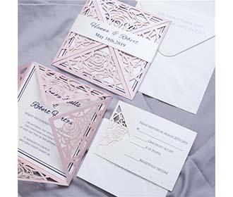 Four fold rose theme laser cut wedding invitation in Blush shimmer