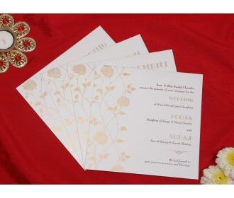 Ganesha cream floral wedding invite