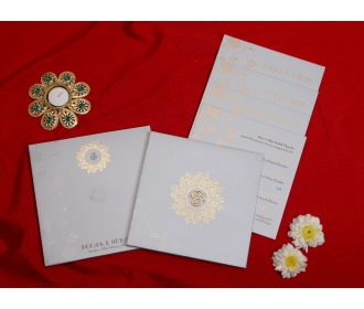 Ganesha cream floral wedding invite