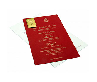 Ganesha Theme Hindu Wedding Card with Pull out Insert in Maroon