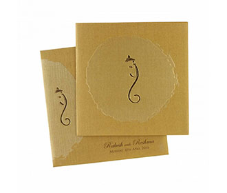 Ganesha Theme Hindu Wedding Invitation in Golden Color