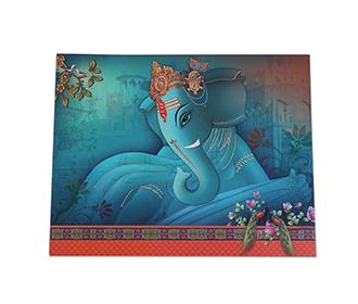 Ganesha theme hindu wedding invite in blue color