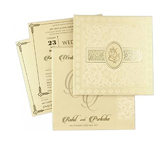Ganesha theme hindu wedding invite in cream colour -