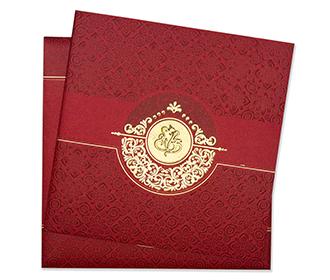 Ganesha theme indian wedding card in red & golden