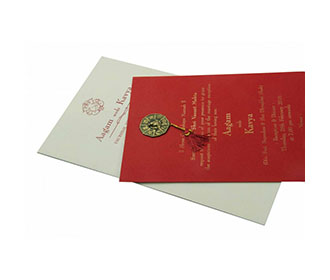 Ganesha Theme Wedding Card with Maroon Pull out Insert