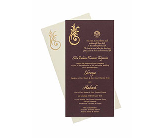 Ganesha Theme Wedding Card with Pull out Inserts in Dark Purple