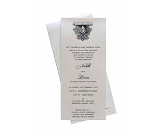 Ganesha Theme Wedding Invitation in Ivory with Pull out insert