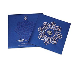 Ganesha theme wedding invitation in royal blue colour -