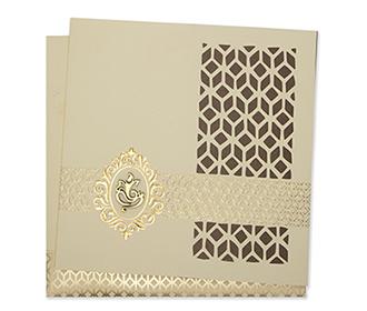 Ganesha themed Cream laser cut tri fold Indian wedding card
