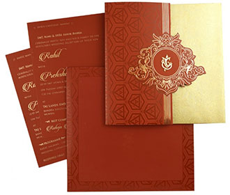 Ganesha themed gatefold Indian wedding invitation in maroon -