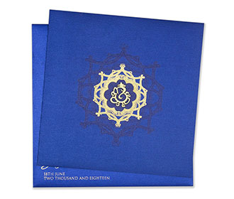 Ganesha themed indian wedding invite in royal blue