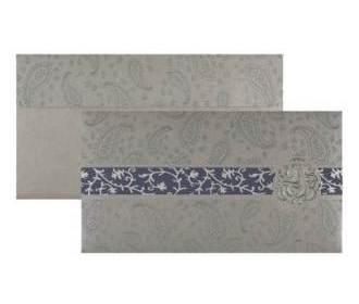 Ganesha Wedding Card in Silver Grey & Blue Paisley Design