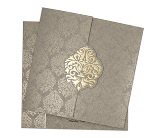 Gate fold Indian wedding invite in grey with floral motifs