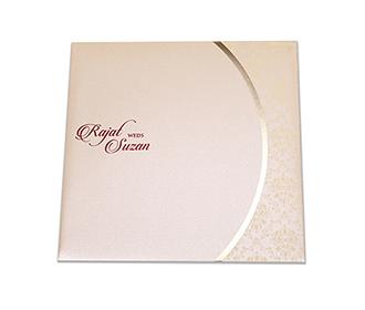 Gate fold multi-faith Indian wedding invitation in cream color