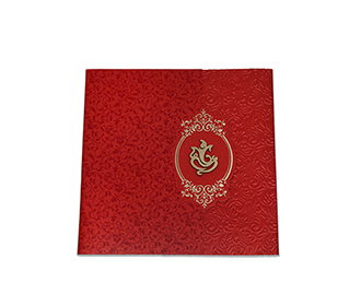 Gate fold tamil wedding Invitation in maroon with floral motifs
