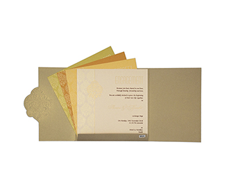 Gate fold tamil wedding invite in brown with floral motifs